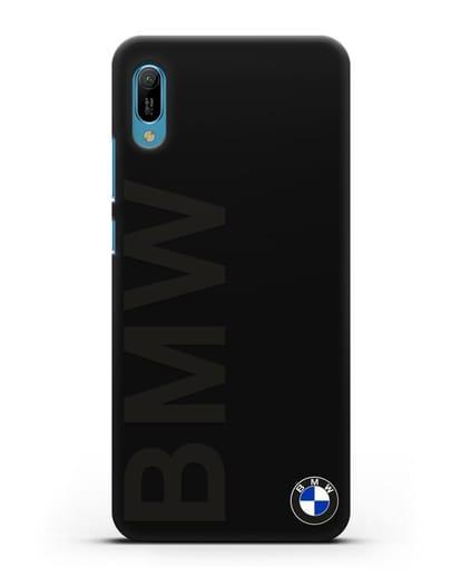 Чехол с надписью BMW и логотипом силикон черный для Huawei Y6 2019