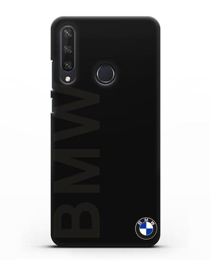Чехол с надписью BMW и логотипом силикон черный для Huawei Y6P