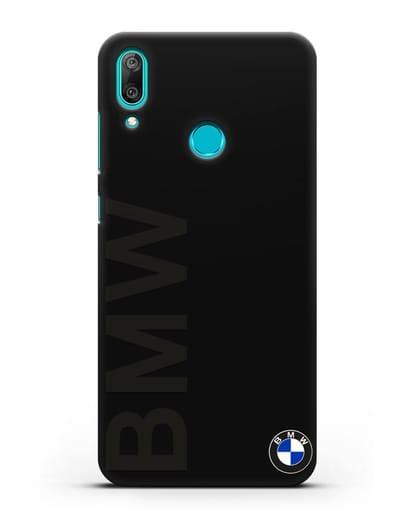 Чехол с надписью BMW и логотипом силикон черный для Huawei Y7 2019