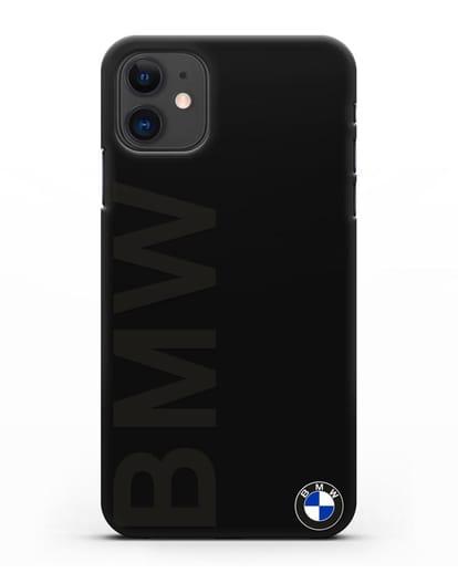Чехол с надписью BMW и логотипом силикон черный для iPhone 11