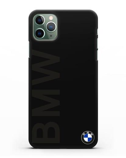 Чехол с надписью BMW и логотипом силикон черный для iPhone 11 Pro Max