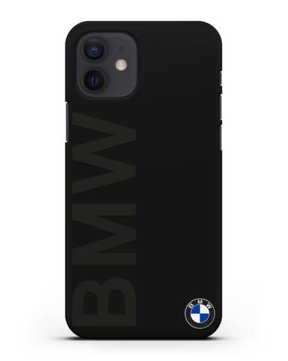 Чехол с надписью BMW и логотипом силикон черный для iPhone 12