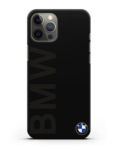 Чехол с надписью BMW и логотипом силикон черный для iPhone 12 Pro Max