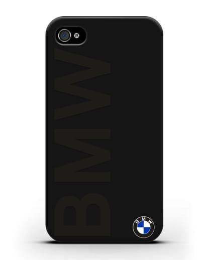 Чехол с надписью BMW и логотипом силикон черный для iPhone 4/4s