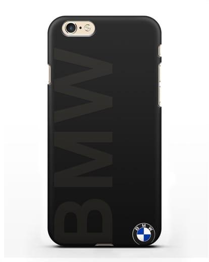 Чехол с надписью BMW и логотипом силикон черный для iPhone 6