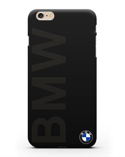 Чехол с надписью BMW и логотипом силикон черный для iPhone 6s Plus