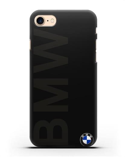 Чехол с надписью BMW и логотипом силикон черный для iPhone 8