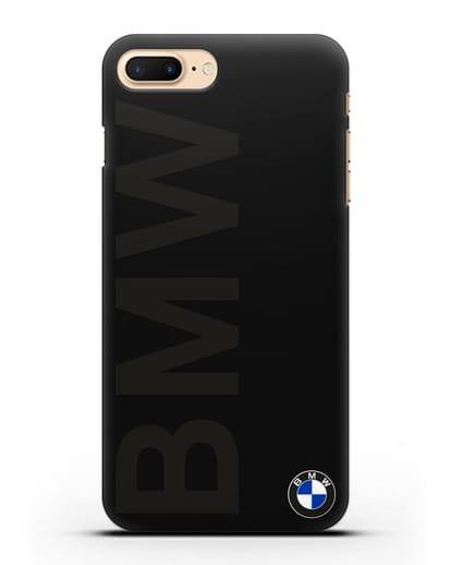 Чехол с надписью BMW и логотипом силикон черный для iPhone 7 Plus