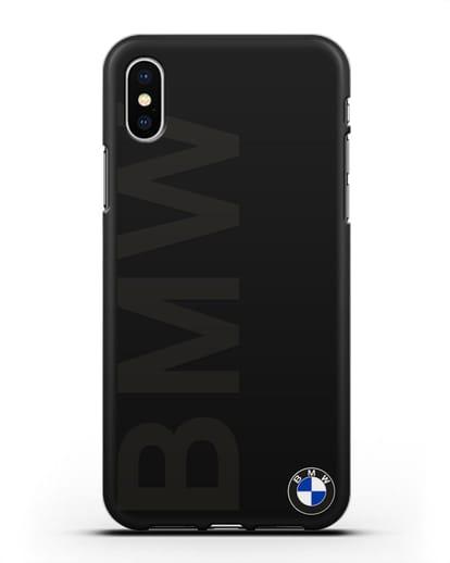 Чехол с надписью BMW и логотипом силикон черный для iPhone X