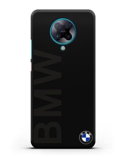 Чехол с надписью BMW и логотипом силикон черный для Xiaomi Poco F2 Pro
