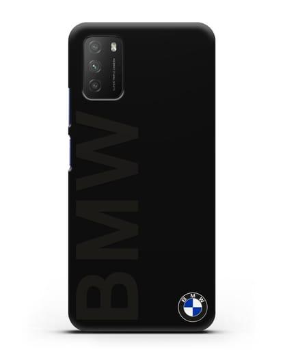 Чехол с надписью BMW и логотипом силикон черный для Xiaomi Poco M3