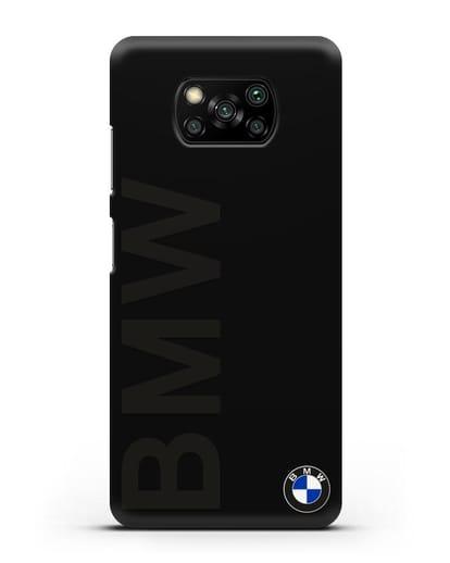 Чехол с надписью BMW и логотипом силикон черный для Xiaomi Poco X3