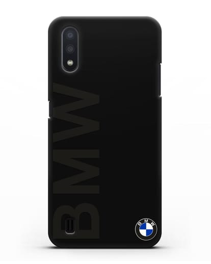 Чехол с надписью BMW и логотипом силикон черный для Samsung Galaxy A01 [SM-A015F]