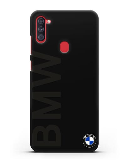 Чехол с надписью BMW и логотипом силикон черный для Samsung Galaxy A11 [SM-A115F]