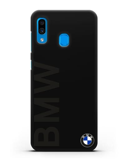 Чехол с надписью BMW и логотипом силикон черный для Samsung Galaxy A30 [SM-A305FN]