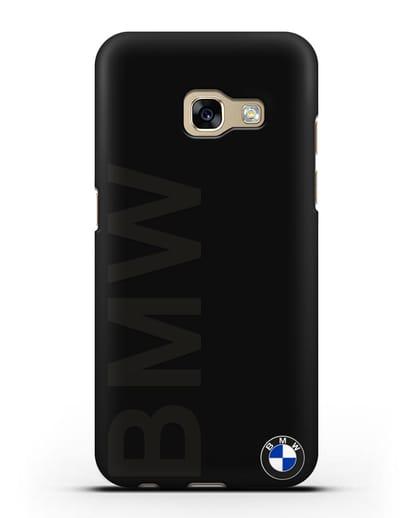 Чехол с надписью BMW и логотипом силикон черный для Samsung Galaxy A3 2017 [SM-A320F]