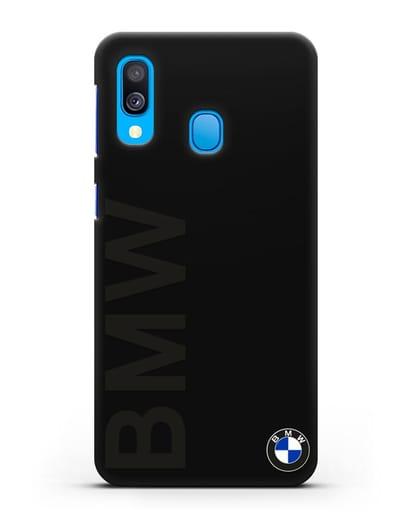 Чехол с надписью BMW и логотипом силикон черный для Samsung Galaxy A40 [SM-A405F]