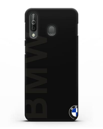 Чехол с надписью BMW и логотипом силикон черный для Samsung Galaxy A40s [SM-A507FN]