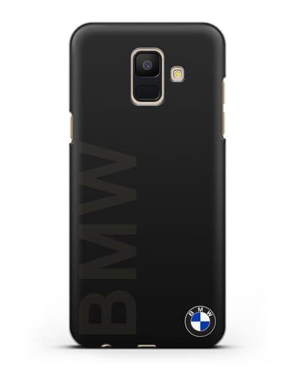 Чехол с надписью BMW и логотипом силикон черный для Samsung Galaxy A6 2018 [SM-A600F]
