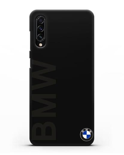 Чехол с надписью BMW и логотипом силикон черный для Samsung Galaxy A70s [SM-A707F]