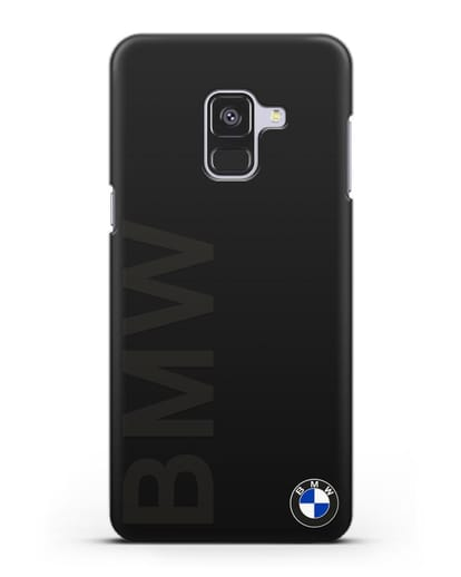 Чехол с надписью BMW и логотипом силикон черный для Samsung Galaxy A8 Plus [SM-A730F]