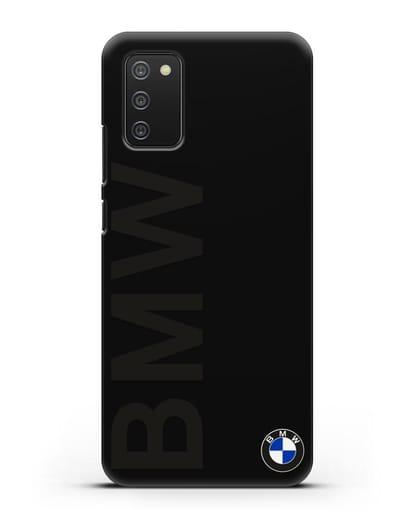 Чехол с надписью BMW и логотипом силикон черный для Samsung Galaxy A02s [SM-A025F]