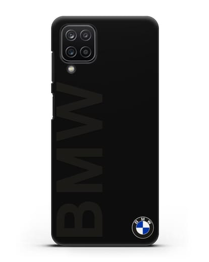 Чехол с надписью BMW и логотипом силикон черный для Samsung Galaxy A12 [SM-A125F]
