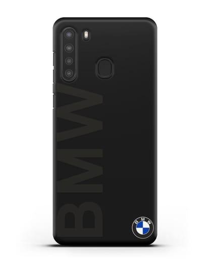 Чехол с надписью BMW и логотипом силикон черный для Samsung Galaxy A21 [SM-A215]