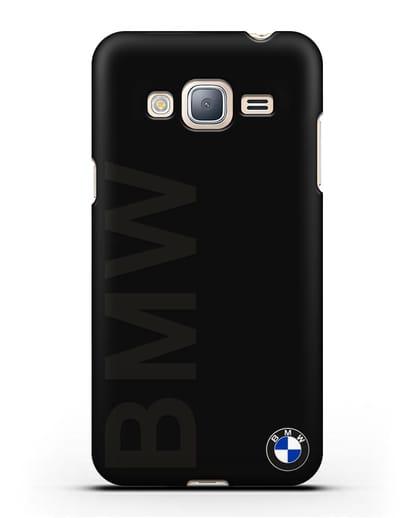 Чехол с надписью BMW и логотипом силикон черный для Samsung Galaxy J3 2016 [SM-J320F]