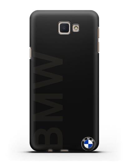 Чехол с надписью BMW и логотипом силикон черный для Samsung Galaxy J7 Prime [SM-G610F]