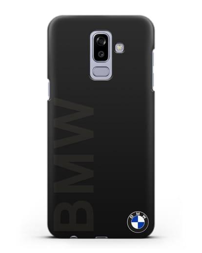 Чехол с надписью BMW и логотипом силикон черный для Samsung Galaxy J8 2018 [SM-J810F]