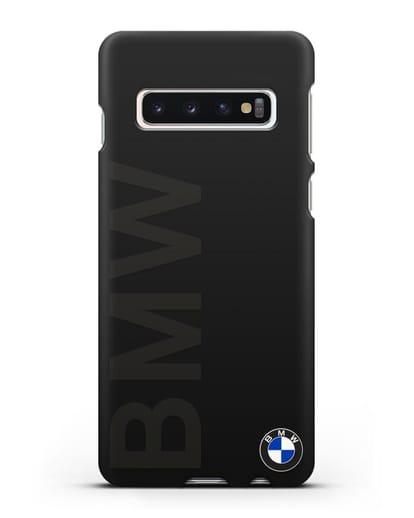 Чехол с надписью BMW и логотипом силикон черный для Samsung Galaxy S10 [SM-G973F]