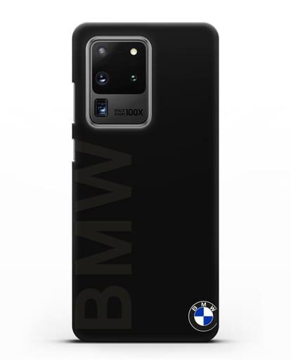 Чехол с надписью BMW и логотипом силикон черный для Samsung Galaxy S20 Ultra [SM-G988B]