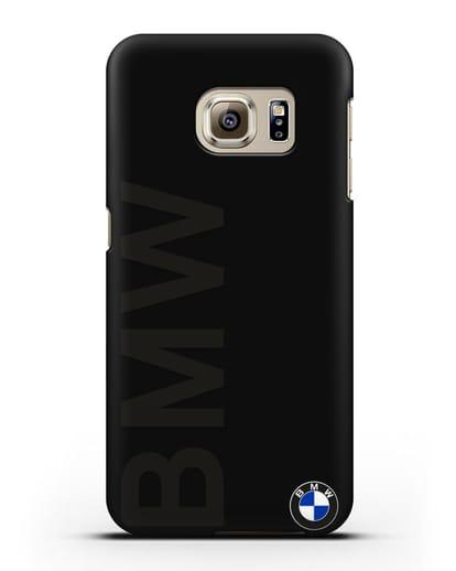 Чехол с надписью BMW и логотипом силикон черный для Samsung Galaxy S6 Edge [SM-G925F]