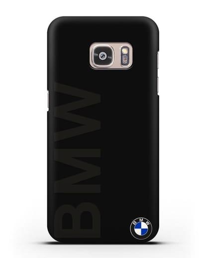 Чехол с надписью BMW и логотипом силикон черный для Samsung Galaxy S7 Edge [SM-G935F]