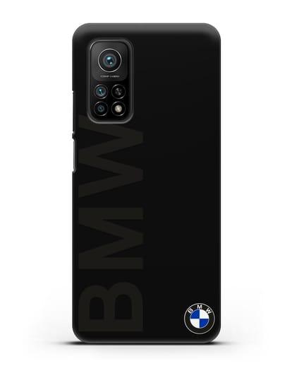 Чехол с надписью BMW и логотипом силикон черный для Xiaomi Mi 10T