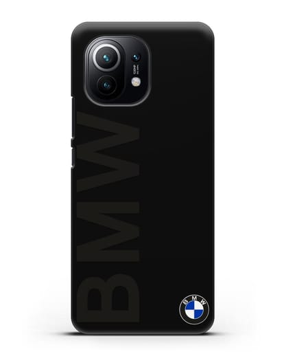 Чехол с надписью BMW и логотипом силикон черный для Xiaomi Mi 11