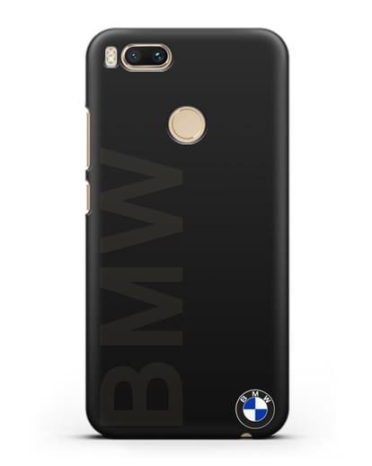 Чехол с надписью BMW и логотипом силикон черный для Xiaomi Mi 5X