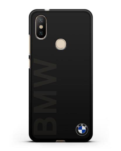 Чехол с надписью BMW и логотипом силикон черный для Xiaomi Mi 6X