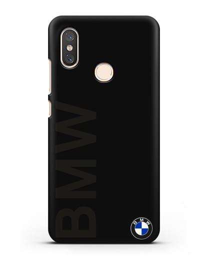 Чехол с надписью BMW и логотипом силикон черный для Xiaomi Mi 8
