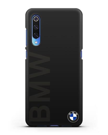 Чехол с надписью BMW и логотипом силикон черный для Xiaomi Mi 9