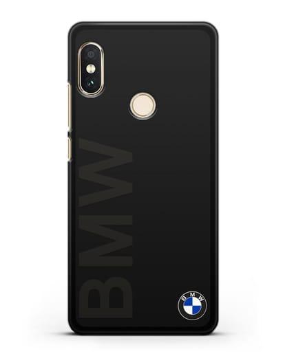 Чехол с надписью BMW и логотипом силикон черный для Xiaomi Mi A2 Lite