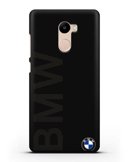 Чехол с надписью BMW и логотипом силикон черный для Xiaomi Redmi 4