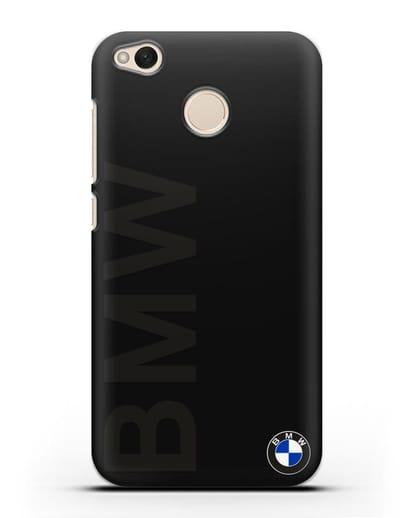 Чехол с надписью BMW и логотипом силикон черный для Xiaomi Redmi 4X