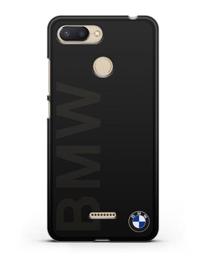 Чехол с надписью BMW и логотипом силикон черный для Xiaomi Redmi 6