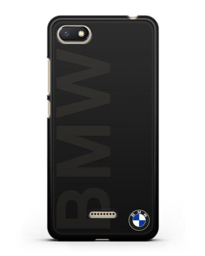 Чехол с надписью BMW и логотипом силикон черный для Xiaomi Redmi 6A