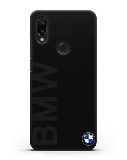 Чехол с надписью BMW и логотипом силикон черный для Xiaomi Redmi 7