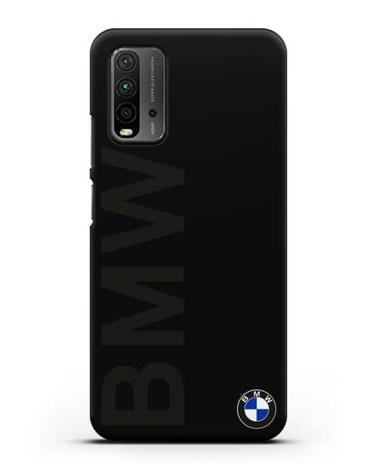 Чехол с надписью BMW и логотипом силикон черный для Xiaomi Redmi 9 Power