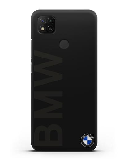 Чехол с надписью BMW и логотипом силикон черный для Xiaomi Redmi 9С