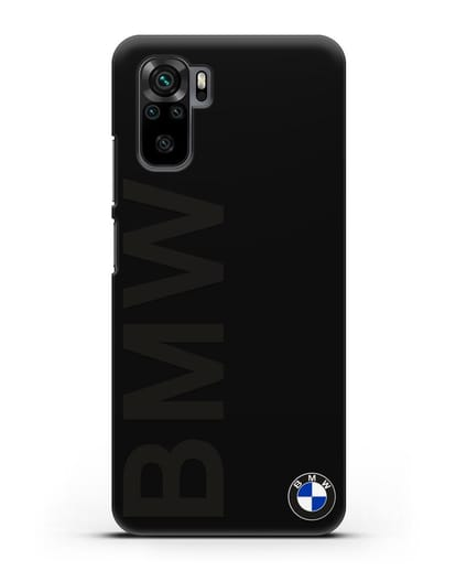 Чехол с надписью BMW и логотипом силикон черный для Xiaomi Redmi Note 10